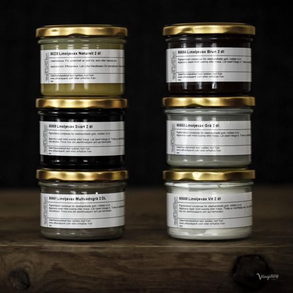 Linoljevax för ytbehandling av trägolv, hyllor, köksbänkar och dyl.